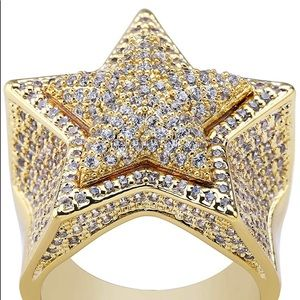 Other - 18K Gold Iced Out Diamond Flooded Star Ring